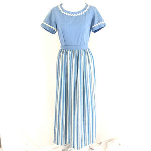 Sears Maxi Dress Vintage Striped Short Sleeve 8